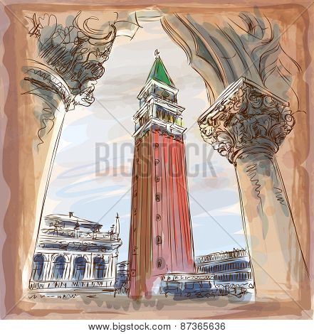 Venice - Piazza San Marco and Kampanila. View from the Doge's Palace. Vector illustration. Eps10