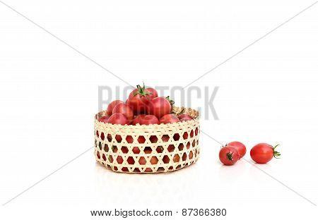 Tomatoes In Bamboom Handcraft Basket