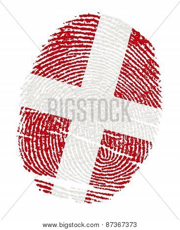 Denmark Flags In The Form Of Fingerprints