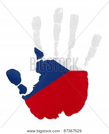 Handprints With Czech Republic Flag.isolated On White Background.