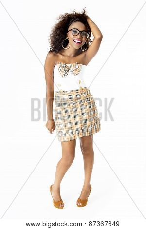 African Female Model  Wearing Cute Dress,  Spectacles, With Afro Hairstyle,