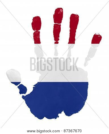 Handprints With Netherlands Flag.isolated On White Background.