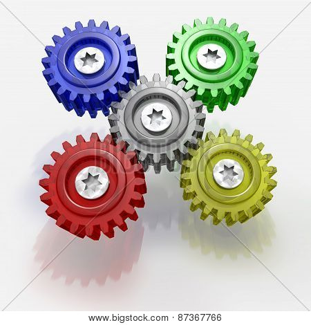 Abstract Gears. 3D Illustration.