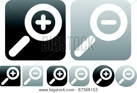 Minimal Zoom In, Zoom Out Icons, Buttons W/ White Magnifying Glass Symbols