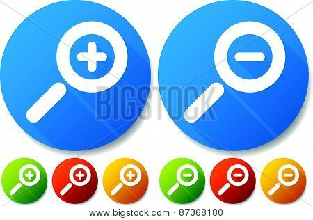 Bright Colorful Magnifier / Magnifying Glass Buttons, Icons. Symbols Castin Diagonal Shadows.