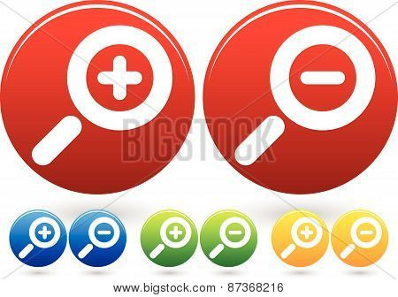 Bright Colorful Magnifier / Magnifying Glass Buttons, Icons
