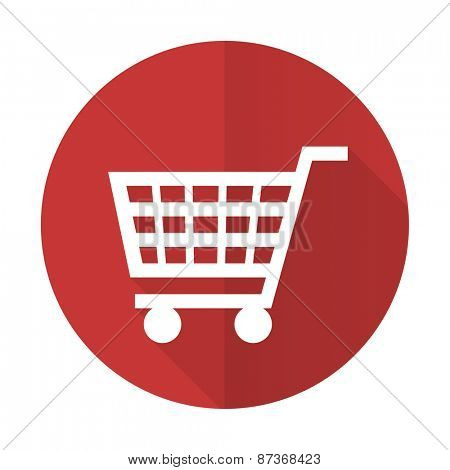cart red flat icon shop sign