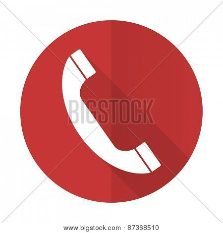 phone red flat icon telephone sign