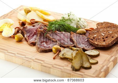 Roast Beef with Pickled Cucumber and Onions, Boiled Potato, Mushrooms and Toast
