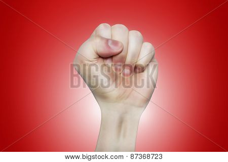 Caricature Of Raising Up Left Fist