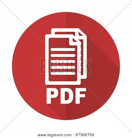 pdf red flat icon pdf file sign