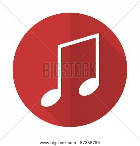 music red flat icon note sign
