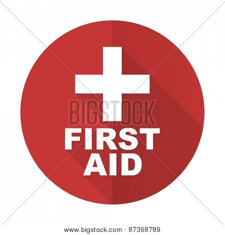 first aid red flat icon