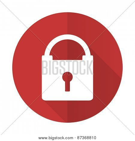 padlock red flat icon secure sign