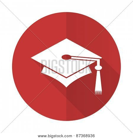 education red flat icon graduation sign