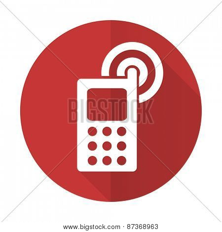 phone red flat icon mobile phone sign
