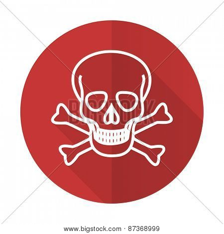 skull red flat icon death sign
