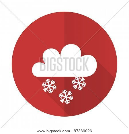 snowing red flat icon waether forecast sign