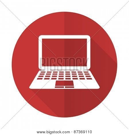 computer red flat icon pc sign