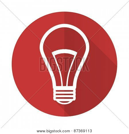 bulb red flat icon light bulb sign