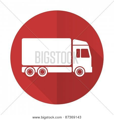 delivery red flat icon truck sign