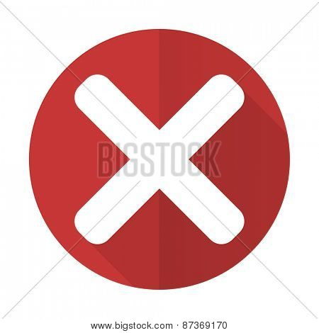 cancel red flat icon x sign