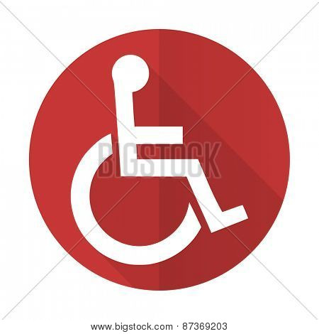 wheelchair red flat icon