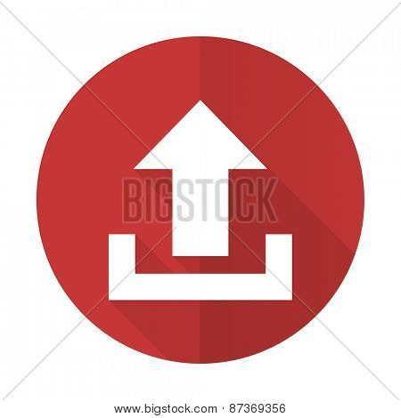 upload red flat icon