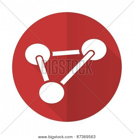 chemistry red flat icon molecule sign