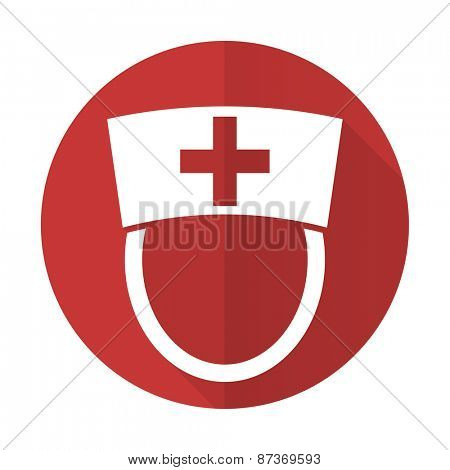 nurse red flat icon hospital sign
