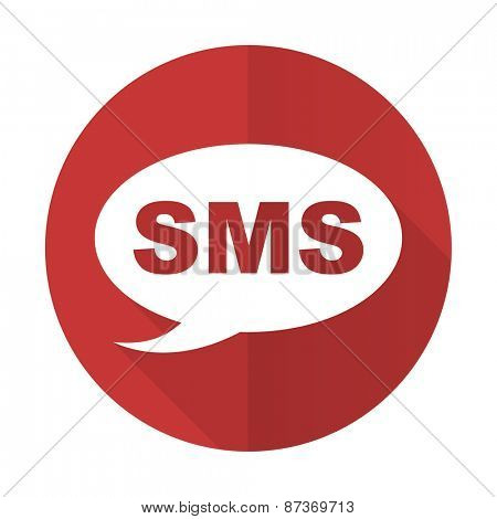 sms red flat icon message sign