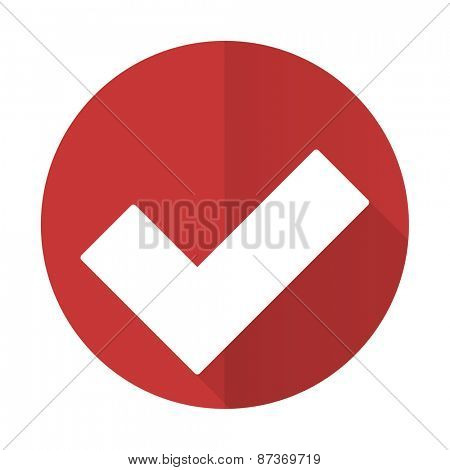accept red flat icon check sign