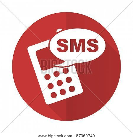 sms red flat icon phone sign