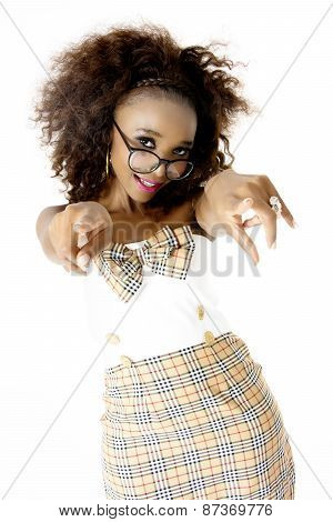 African Female Model  with Spectacles Pointing at Camera