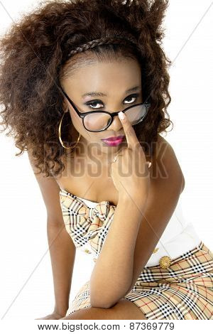 African Female Model  Looking over Spectacles, with Pink Lips