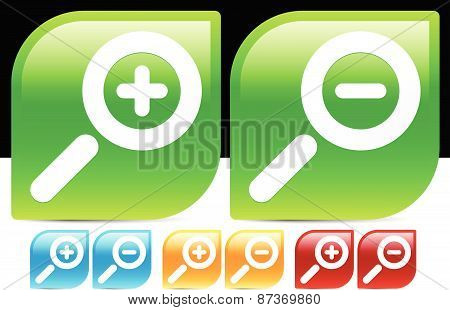 Glossy Magnifier Icons In Various Colors. Magnify. Zoom In, Zoom Out Icon Set.