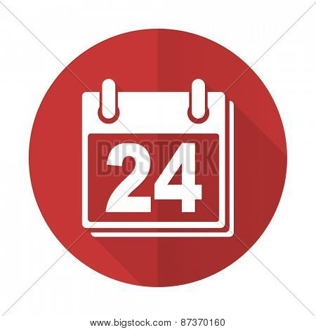 calendar red flat icon organizer sign agenda symbol