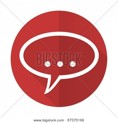 forum red flat icon chat symbol bubble sign