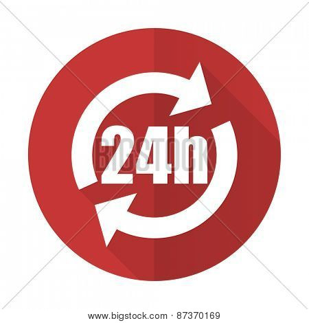 24h red flat icon