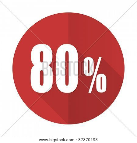 80 percent red flat icon sale sign