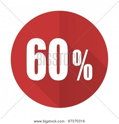 60 percent red flat icon sale sign