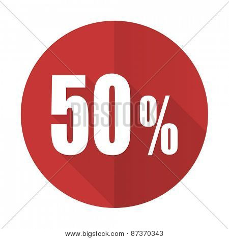 50 percent red flat icon sale sign