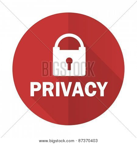 privacy red flat icon