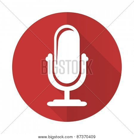 microphone red flat icon podcast sign