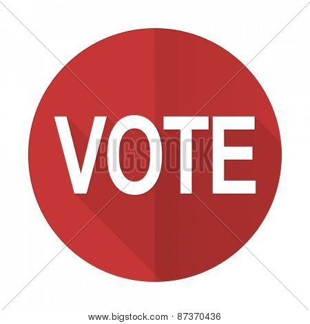 vote red flat icon
