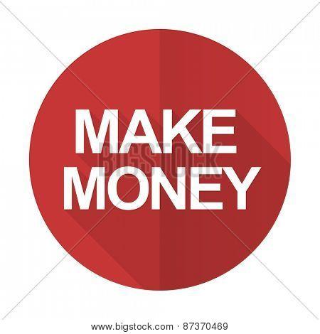make money red flat icon