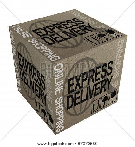 3D Cardboard boxes with Worldwide shipping theme