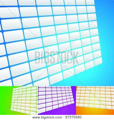 Set Of Video Walls, Backgrounds With Grid Of Rectangles