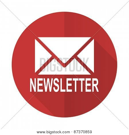 newsletter red flat icon