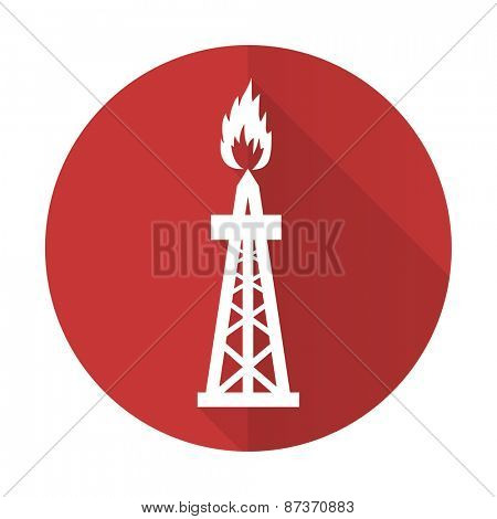 gas red flat icon oil sign